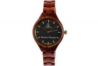 Women's wooden wrist watch-red