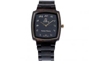 Man's wooden wrist watch- black
