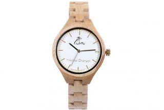 Women's wooden wrist watch-white