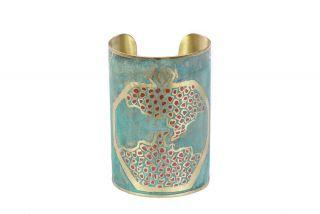 Brass bracelet miniature pomegranate