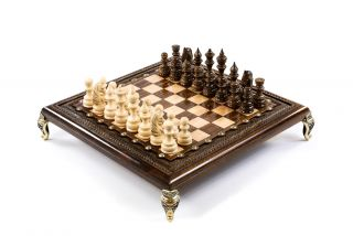 Square Chess with bronze legs