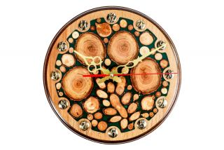 Clock with tree branch slices and epoxy
