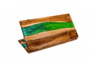 River- epoxy backgammon two-sided classic