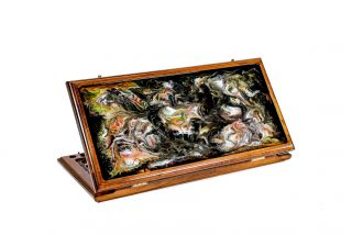Backgammon with epoxy abstract painting classic