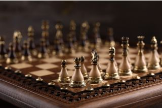 Chess classic with bronze game pieces