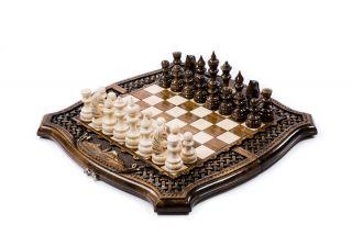 Шахматы-нарды Арарат с плетёнкой с авторским оформлением контура