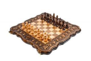 Chess-backgammon with an ornamental pattern with copyrighted contour outline
