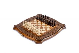 Ornamental chess-backgammon with copyrighted contour outline